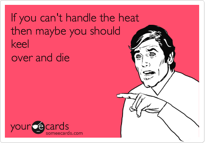 If you can't handle the heat then maybe you should keel over and die