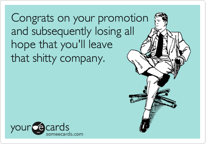 Congrats on your promotion and subsequently losing all hope that you'll leave that shitty company.