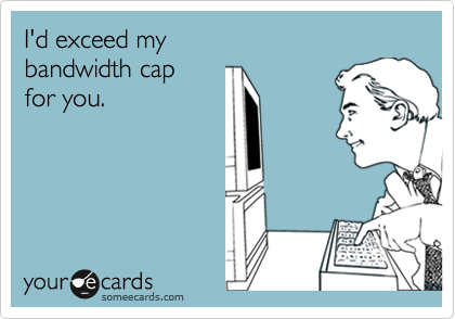 I'd exceed my  bandwidth cap  for you.