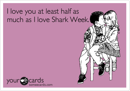I love you at least half as much as I love Shark Week.
