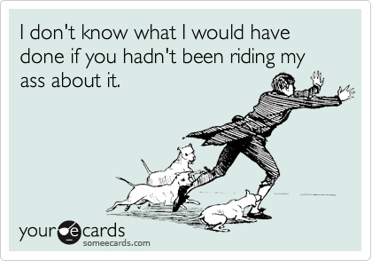 I don't know what I would have done if you hadn't been riding my ass about it.