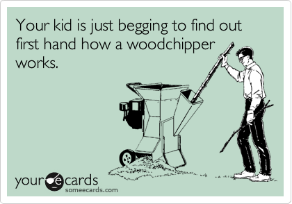Your kid is just begging to find out first hand how a woodchipper works.
