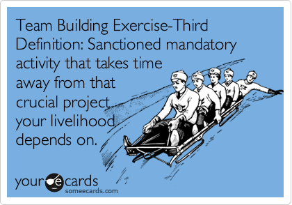 Team Building Exercise-Third Definition: Sanctioned mandatory activity that takes time away from that crucial project  your livelihood depends on.