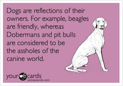 Dogs are reflections of their owners. For example, beagles are friendly, whereas Dobermans and pit bulls are considered to be the assholes of the canine world.
