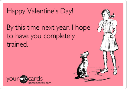 Happy Valentine's Day!  By this time next year, I hope to have you completely trained.