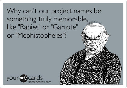 "Why can't our project names be something truly memorable, like ""Rabies"" or ""Garrote"" or ""Mephistopheles""?"