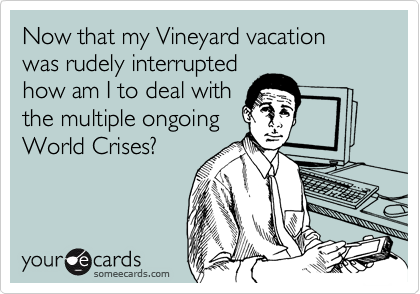 Now that my Vineyard vacation was rudely interrupted how am I to deal with the multiple ongoing World Crises?