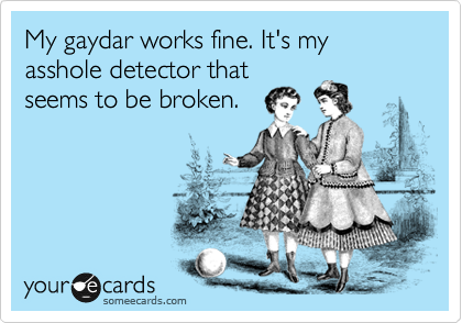 My gaydar works fine. It's my asshole detector that seems to be broken.