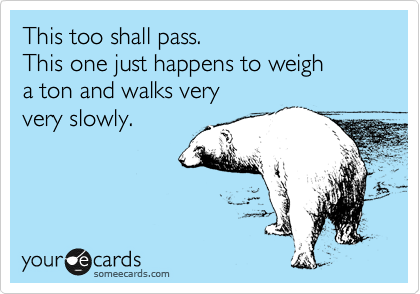 This too shall pass.  This one just happens to weigh a ton and walks very very slowly.