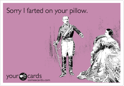 Sorry I farted on your pillow.