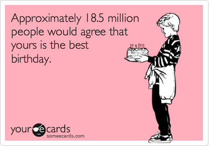 Approximately 18.5 million people would agree that yours is the best birthday.