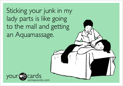Sticking your junk in my lady parts is like going to the mall and getting an Aquamassage.