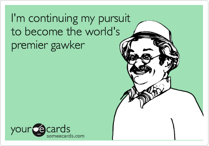 I'm continuing my pursuit to become the world's premier gawker