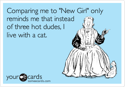 """Comparing me to """"New Girl"""" only reminds me that instead of three hot dudes, I live with a cat."""