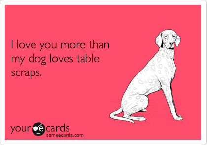 I love you more than my dog loves table  scraps.