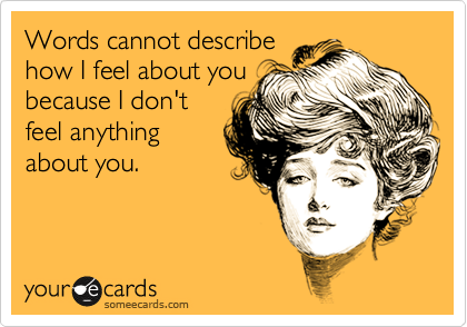 Words cannot describe how I feel about you because I don't feel anything about you.