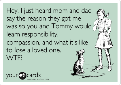 Hey, I just heard mom and dad say the reason they got me was so you and Tommy would learn responsibility, compassion, and what it's like to lose a loved one. WTF?
