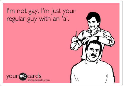 I'm not gay, I'm just your regular guy with an 'a'.