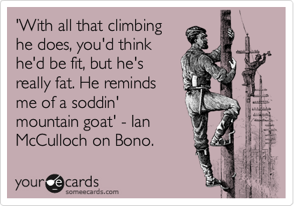 'With all that climbing he does, you'd think he'd be fit, but he's really fat. He reminds me of a soddin' mountain goat' - Ian McCulloch on Bono.
