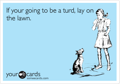 If your going to be a turd, lay on the lawn.