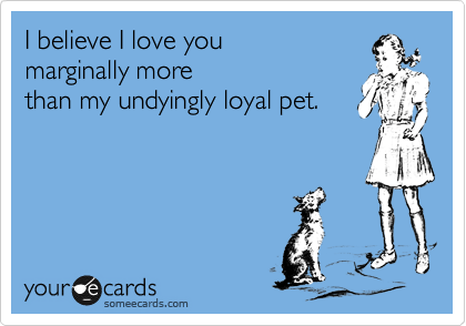 I believe I love you  marginally more  than my undyingly loyal pet.