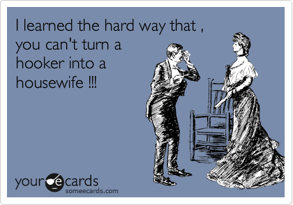 I learned the hard way that ,  you can't turn a  hooker into a  housewife !!!
