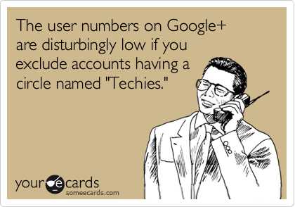 "The user numbers on Google+  are disturbingly low if you  exclude accounts having a circle named ""Techies."""