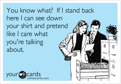 You know what?  If I stand back here I can see down your shirt and pretend like I care what you're talking about.