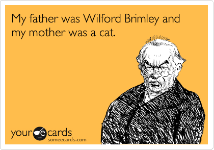 My father was Wilford Brimley and my mother was a cat.