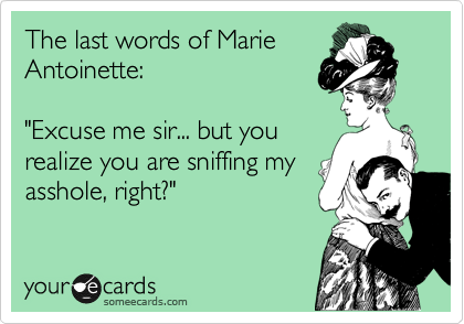 "The last words of Marie Antoinette:  ""Excuse me sir... but you realize you are sniffing my asshole, right?"""