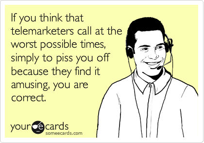 If you think that  telemarketers call at the worst possible times, simply to piss you off because they find it amusing, you are correct.