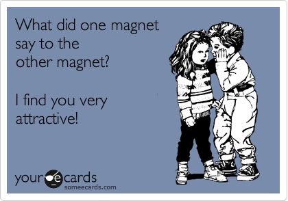 What did one magnet  say to the other magnet?  I find you very attractive!