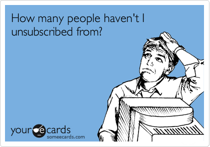 How many people haven't I unsubscribed from?