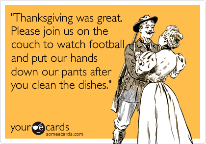 """Thanksgiving was great.  Please join us on the  couch to watch football and put our hands down our pants after you clean the dishes."""