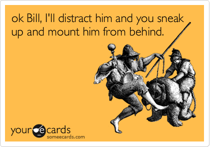 ok Bill, I'll distract him and you sneak up and mount him from behind.
