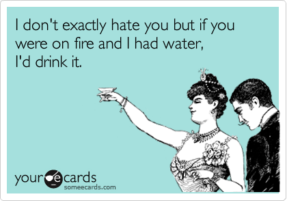 I don't exactly hate you but if you were on fire and I had water,        I'd drink it.