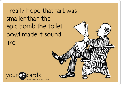 I really hope that fart was smaller than the  epic bomb the toilet bowl made it sound like.