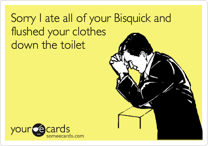 Sorry I ate all of your Bisquick and flushed your clothes down the toilet