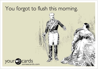 You forgot to flush this morning.