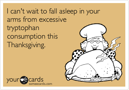 I can't wait to fall asleep in your arms from excessive tryptophan consumption this Thanksgiving.