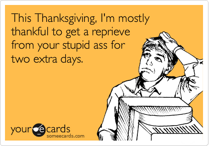 This Thanksgiving, I'm mostly thankful to get a reprieve from your stupid ass for two extra days.