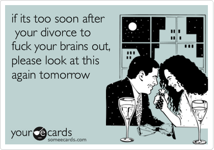 if its too soon after  your divorce to fuck your brains out, please look at this again tomorrow