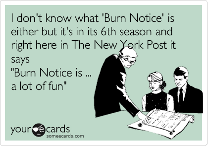 """I don't know what 'Burn Notice' is either but it's in its 6th season and right here in The New York Post it says """"Burn Notice is ... a lot of fun"""""""