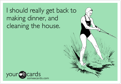 I should really get back to making dinner, and cleaning the house.