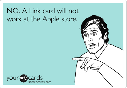 NO. A Link card will not work at the Apple store.