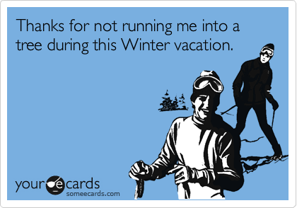 Thanks for not running me into a tree during this Winter vacation.