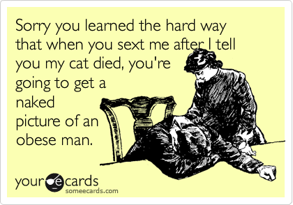 Sorry you learned the hard way that when you sext me after I tell you my cat died, you're going to get a naked picture of an obese man.
