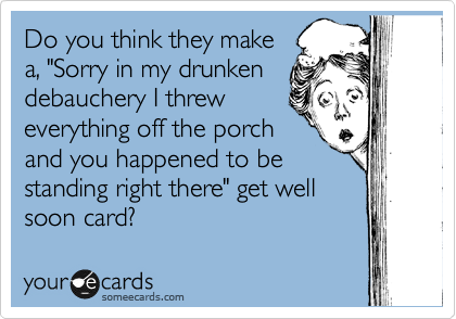 "Do you think they make a, ""Sorry in my drunken debauchery I threw everything off the porch and you happened to be standing right there"" get well soon card?"