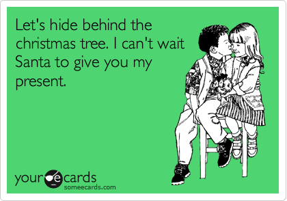 Let's hide behind the christmas tree. I can't wait Santa to give you my present.