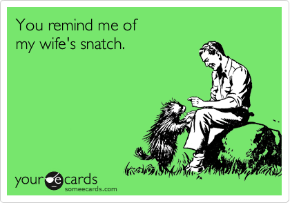 You remind me of my wife's snatch.